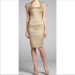 Tadashi Shoji Satin Gold Sequin Stretch Dress